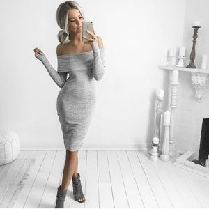 Sexy off shoulder midi sweater marled dress